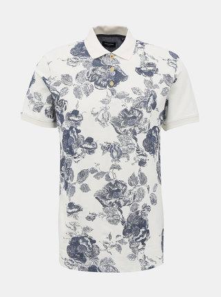 Bílé květované polo tričko Jack & Jones Nick