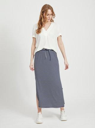 Tmavě modrá pruhovaná basic maxi sukně VILA Dell