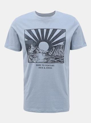 Světle modré tričko s potiskem Jack & Jones Desert