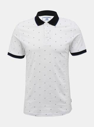 Bílé vzorované polo tričko Jack & Jones Carlo