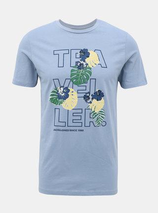 Světle modré tričko s potiskem Jack & Jones Flame