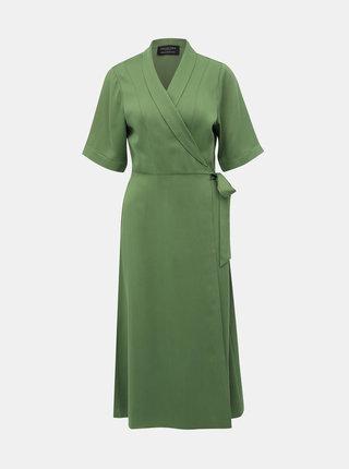 Zelené zavinovací midišaty Selected Femme Tasia