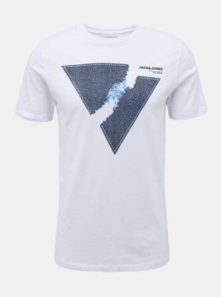 Biele tričko s potlačou Jack & Jones Tutan
