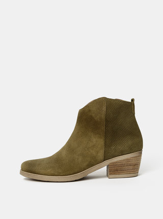 Kaki dámske vzorované semišové členkové topánky OJJU