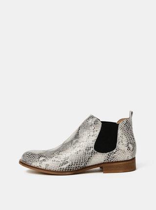 Bílé dámské kožené chelsea boty s hadím vzorem OJJU