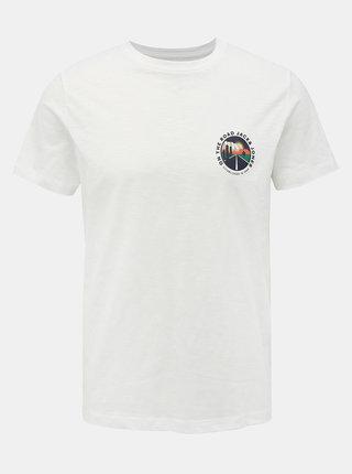 Bílé tričko s potiskem Jack & Jones Souvenir