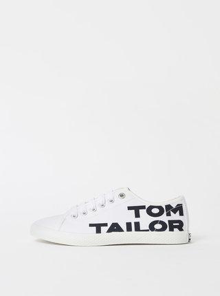 Biele dámske tenisky s potlačou Tom Tailor