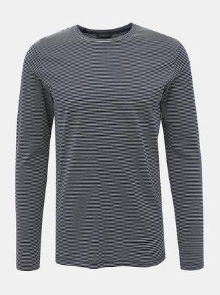 Bielo-modré pruhované basic tričko Selected Homme Loui