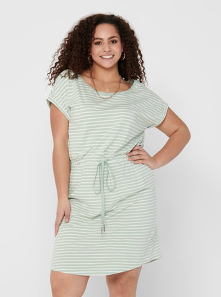 Svetlozelené pruhované basic šaty ONLY CARMAKOMA April