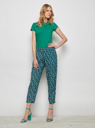 Zeleno-modré vzorované zkrácené kalhoty Tranquillo