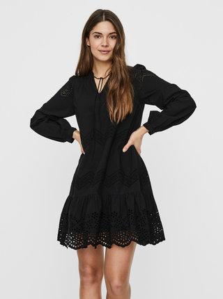 Černé šaty s madeirou VERO MODA Olivia