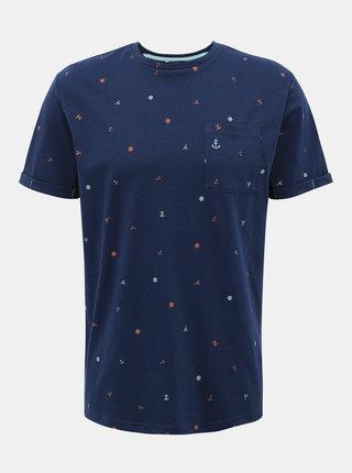Tmavě modré vzorované tričko ONLY & SONS Russel
