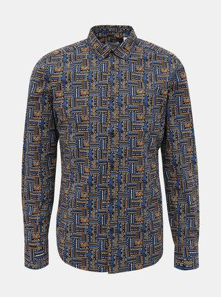 Modrá vzorovaná slim fit košile ONLY & SONS Elroy