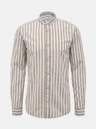 Béžovo-bílá pruhovaná slim fit košile ONLY & SONS Mattew