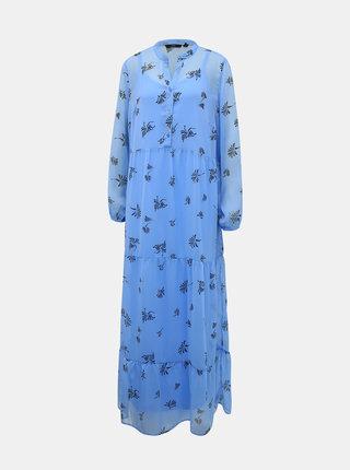 Modré květované maxišaty VERO MODA Lila