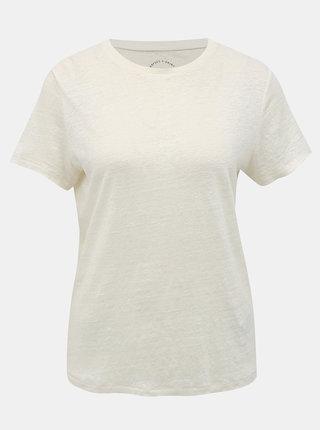 Krémové lněné basic tričko ONLY Patrice