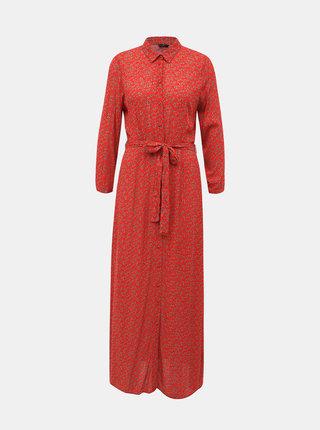 Červené kvetované košeľové maxišaty VERO MODA Athen