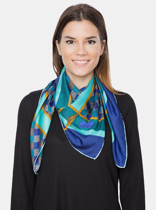 Modro-zelený dámský vzorovaný šátek Versace 19.69