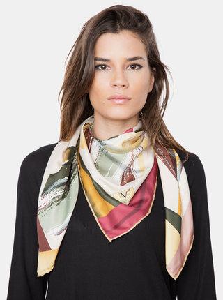 Vínovo-béžový dámský vzorovaný šátek Versace 19.69