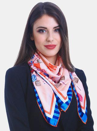 Modro-růžový dámský vzorovaný šátek Versace 19.69