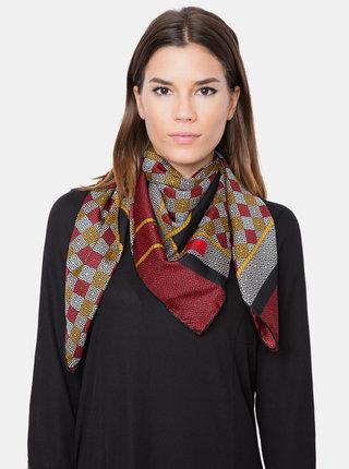 Černo-červený dámský vzorovaný šátek Versace 19.69