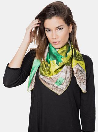 Zeleno-béžový dámský vzorovaný šátek Versace 19.69