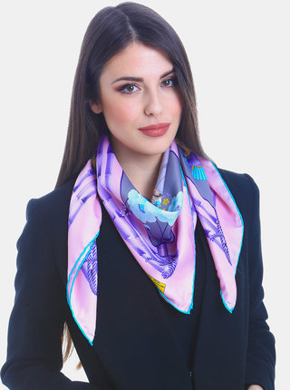 Šedo-růžový dámský vzorovaný šátek Versace19.69