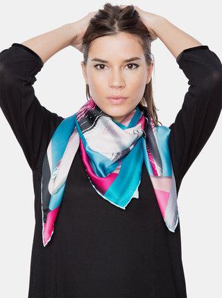 Růžovo-tyrkysový dámský vzorovaný šátek Versace 19.69