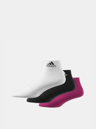 Sada tří párů dámských kotníkových ponožek v bílé, černé a růžové barvě adidas Performance