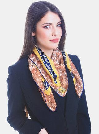 Béžovo-hnědý dámský vzorovaný šátek Versace 19.69