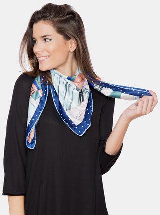 Modro-hnědý dámský vzorovaný šátek Versace 19.69