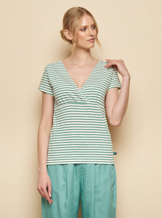 Zeleno-biele pruhované tričko Tranquillo Aluna