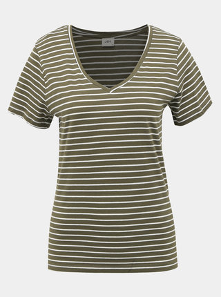 Kaki pruhované basic tričko Jacqueline de Yong Best Live