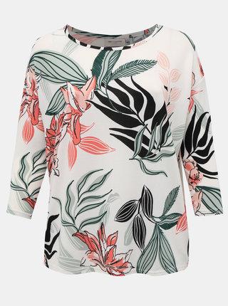 Biely kvetovaný ľahký sveter ONLY CARMAKOMA Alba