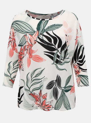 Bílý květovaný lehký svetr ONLY CARMAKOMA Alba