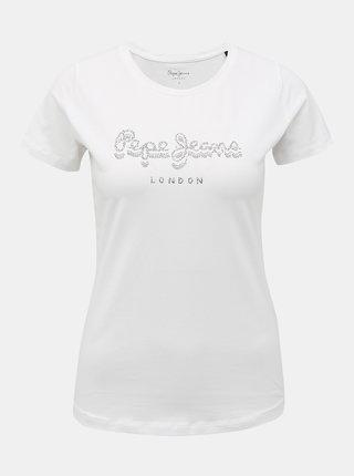 Biele dámske tričko s ozdobnými kamienkami Pepe Jeans Beatrice