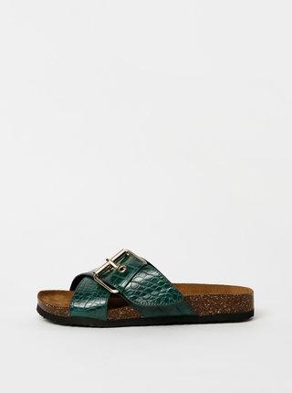 Zelené pantofle s krokodýlím vzorem ONLY Mathilda