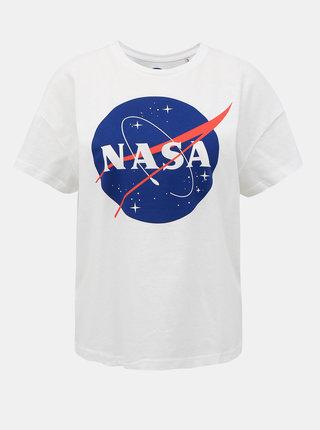 Biele tričko s potlačou ONLY NASA