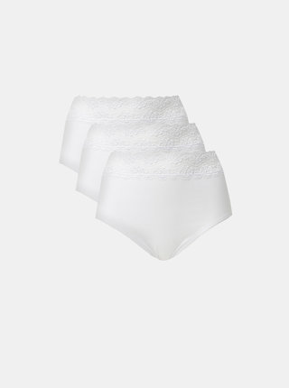 Sada troch bielych nohavičiek s krajkou M&Co