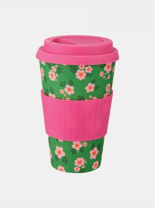 Růžovo-zelený květovaný cestovní hrnek Sass & Belle Frida