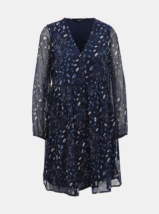 Tmavomodré kvetované šaty ONLY Nabby