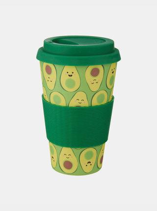Zelený vzorovaný cestovní hrnek Sass & Belle Happy Avocado