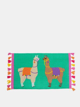 Zelený koberec s motivem lamy Sass & Belle Lima Llama