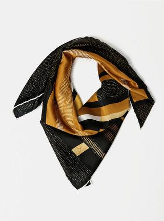 Černo-hnědý dámský vzorovaný šátek Versace 19.69