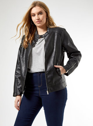 Černá koženková bunda Dorothy Perkins Curve