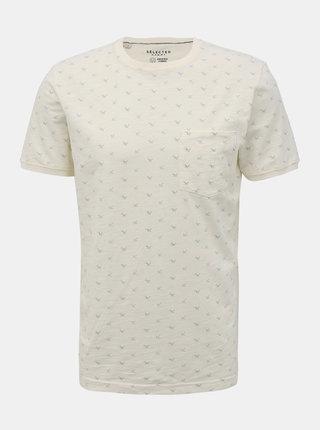 Biele vzorované tričko Selected Homme Ulrik