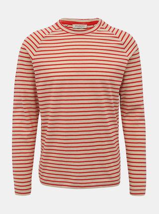 Červeno-béžové pruhované basic tričko Selected Homme Tron