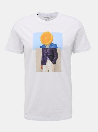 Bílé tričko s potiskem Selected Homme Evan
