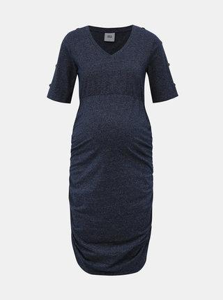 Tmavomodré tehotenské šaty s riasením Mama.licious Tracy