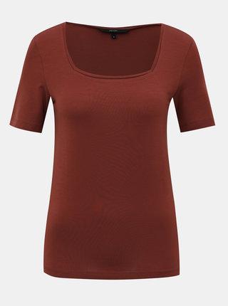 Hnedé basic tričko VERO MODA Ava